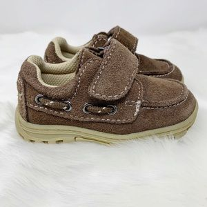 HEALTHTEX suede boat shoes leather upper brown tan